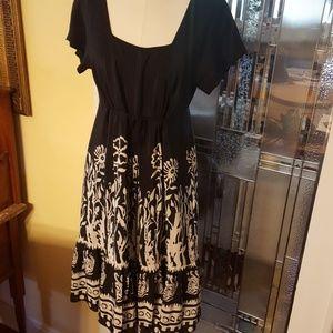 Anna Sui for Anthropologie black silk floral dress